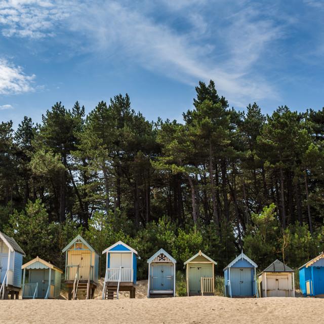 """Beach huts at Wells next the Sea"" stock image"