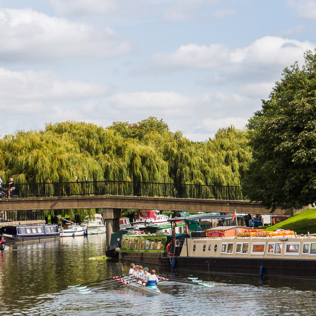 """""""Boys rowing on the River Great Ouse"""" stock image"""