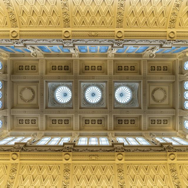 """""""Fitzwilliam Museum, ceiling of gallery number 3, Cambridge UK."""" stock image"""