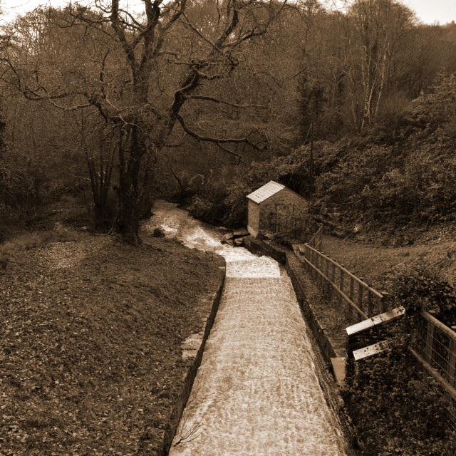 """""""Old Pump House Sepia"""" stock image"""