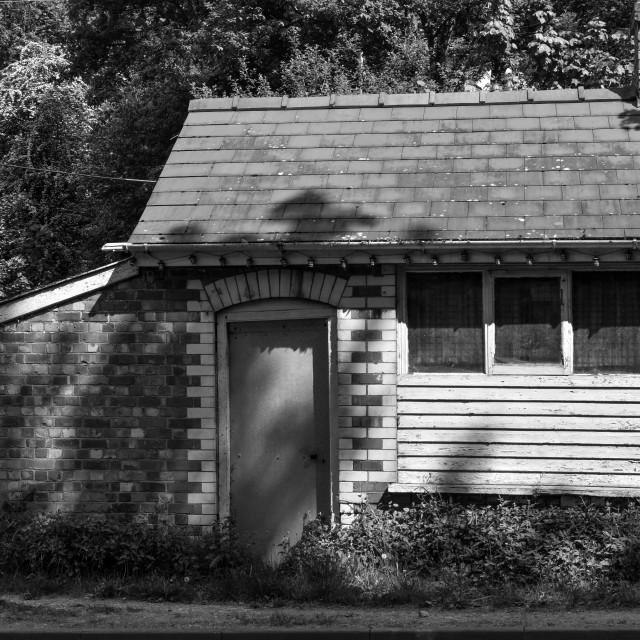 """Roadside Hut B&W"" stock image"