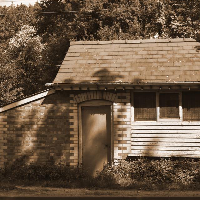 """Roadside Hut Sepia"" stock image"