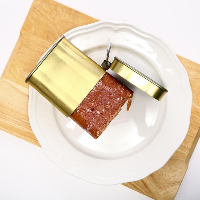 """Flat lay of a metal corned beef tin"" stock image"