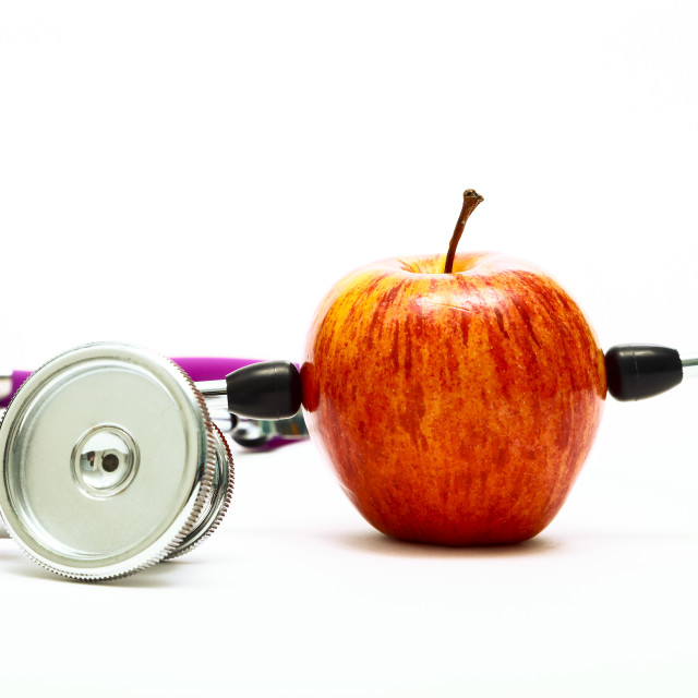 """""""Conceptual healthy eating image of an eating apple"""" stock image"""
