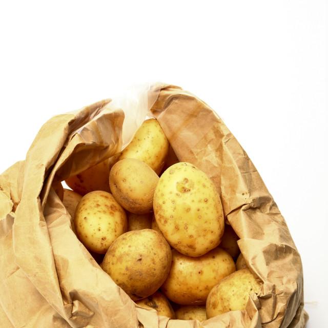 """""""Paper sack of Maris Piper potatoes"""" stock image"""