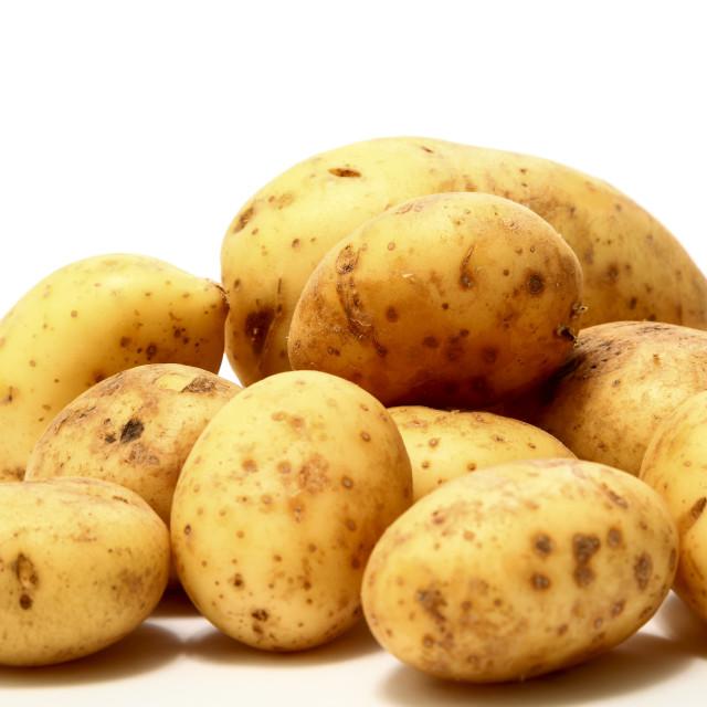 """""""Heap of Maris Piper potatoes"""" stock image"""