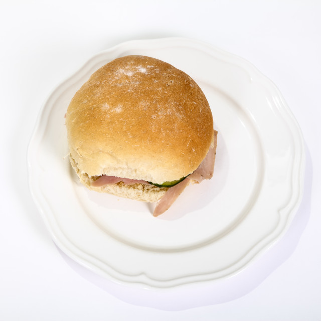 """Ham salad in a home baked bread roll"" stock image"