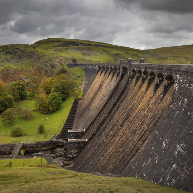 """The Claerwen reservoir dam in Powys"" stock image"