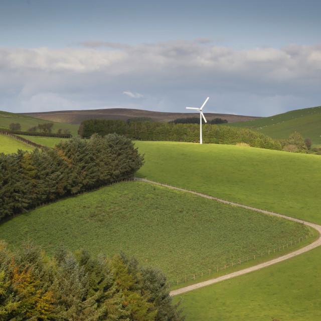 """A solitary wind turbine"" stock image"