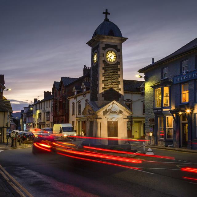"""Rhayader town clock tower"" stock image"