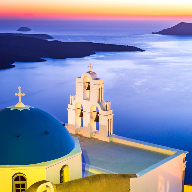 """Santorini, Greece - Firostefani sunset"" stock image"