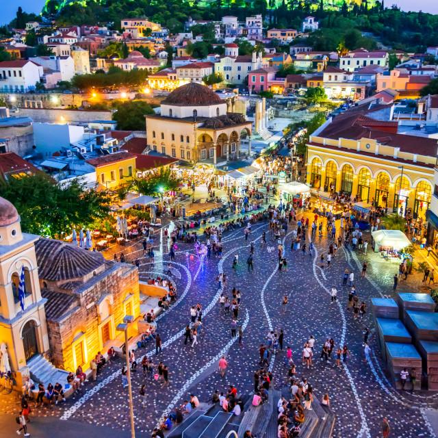 """Athens, Greece - Monastiraki Square and Acropolis"" stock image"