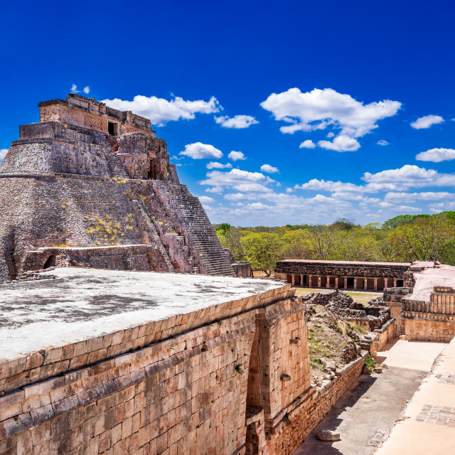 """""""Uxmal, Mexico - Magician Pyramid, Maya ancient Yucatan."""" stock image"""