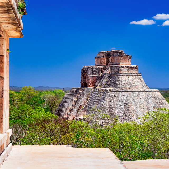 """""""Uxmal, Mexico - Magician Pyramid, Maya civilization in Yucatan"""" stock image"""