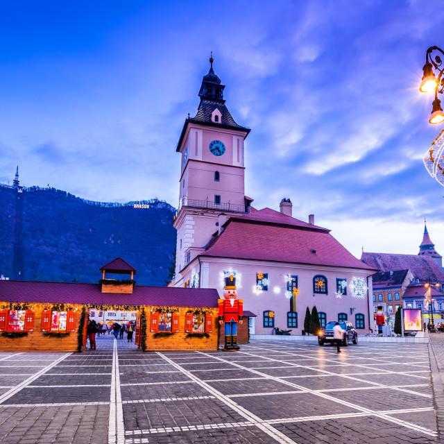 """""""Brasov, Romania, Christmas Market in Transylvania, Europe"""" stock image"""