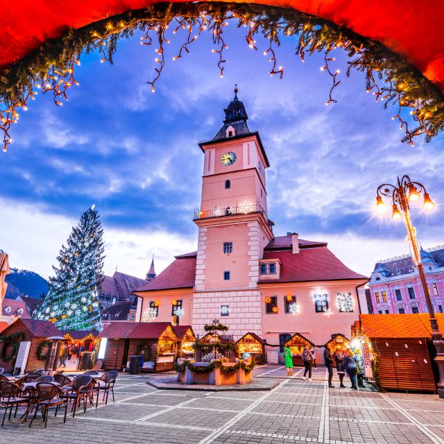 """Brasov, Christmas Market in Transylvania, Romania"" stock image"