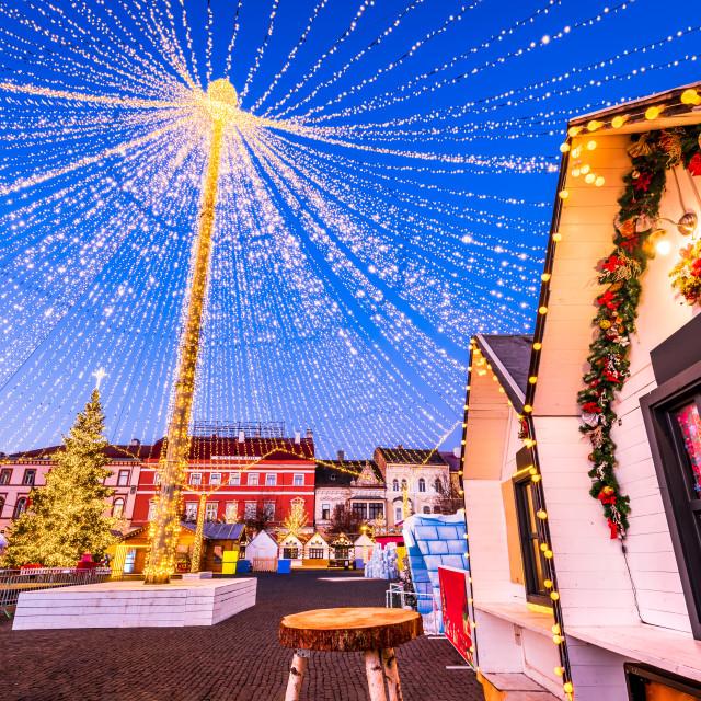 """""""Cluj Christmas Market in Transylvania, Romania"""" stock image"""