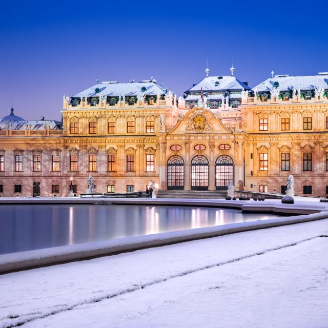 """Vienna, Austria - Belvedere winter night"" stock image"