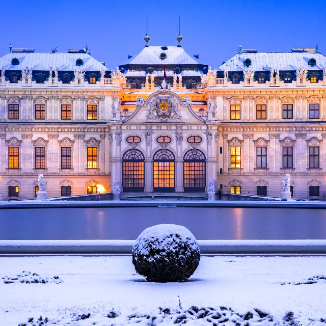 """""""Vienna, Austria - Winter snowy night at Belvedere, travel landsc"""" stock image"""
