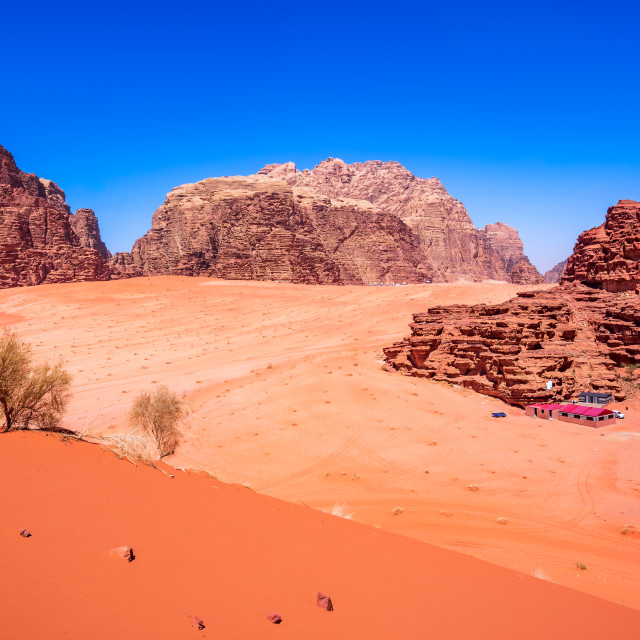 """Wadi Rum, Jordan - Valley of the Moon desert landscape"" stock image"