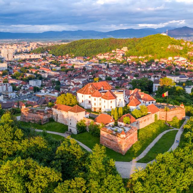 """Brasov, Romania - The Citadel aerial view"" stock image"