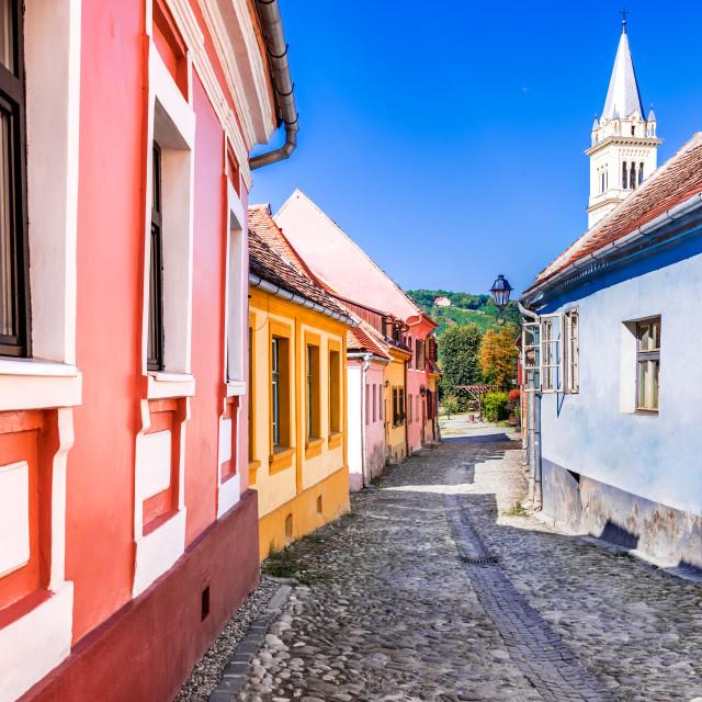 """Sighisoara, Romania - Transylvania medieval city"" stock image"