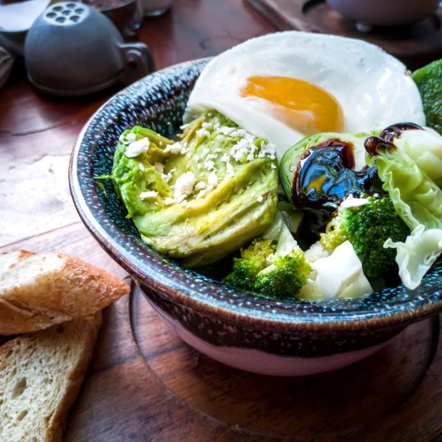 """Mexican breakfast with avocado, Yucatan"" stock image"