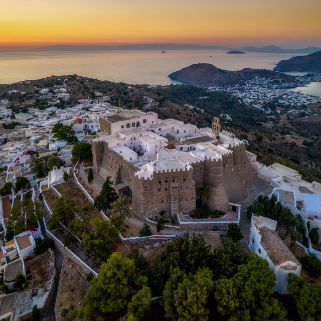 """Patmos island at sunset"" stock image"