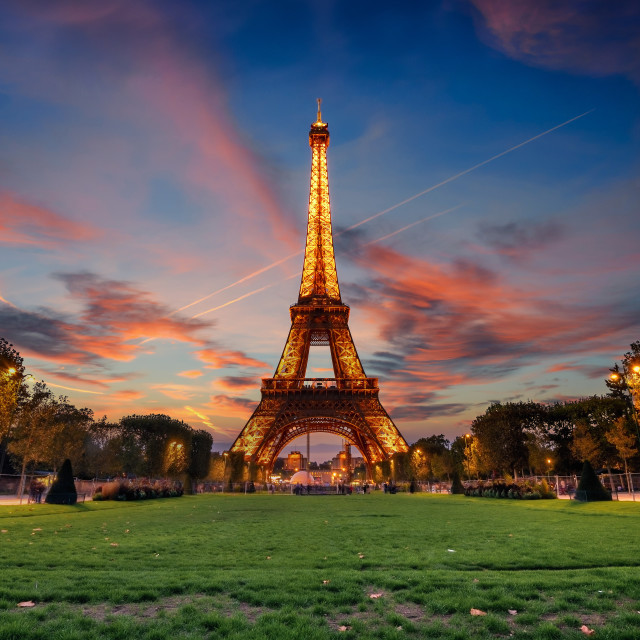 """Eiffel tower at sunset"" stock image"