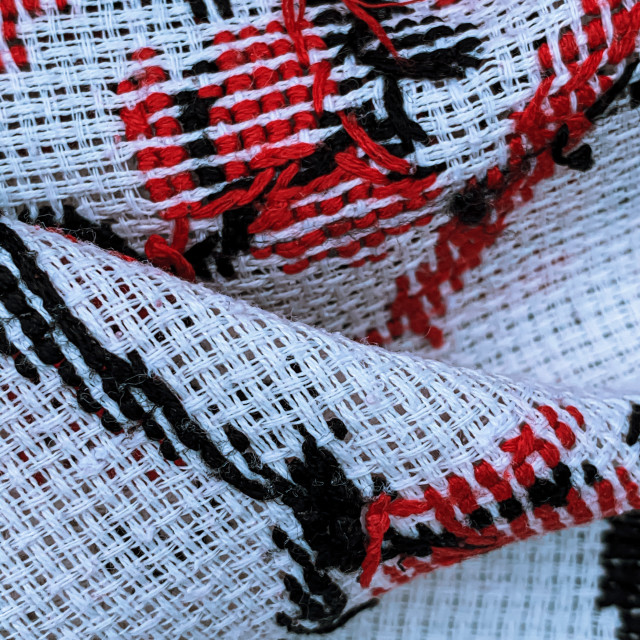 """""""Closeup of hand crafted romanian traditional textile"""" stock image"""