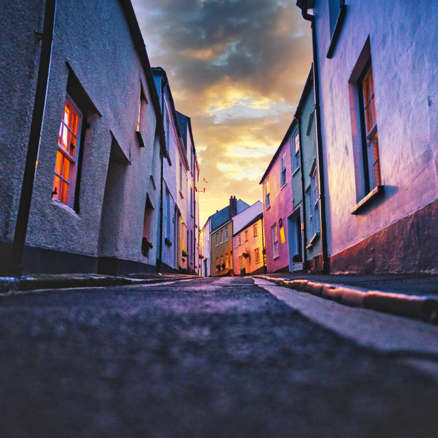 """Sunrise over Armada Road, Cawsand, Cornwall UK."" stock image"