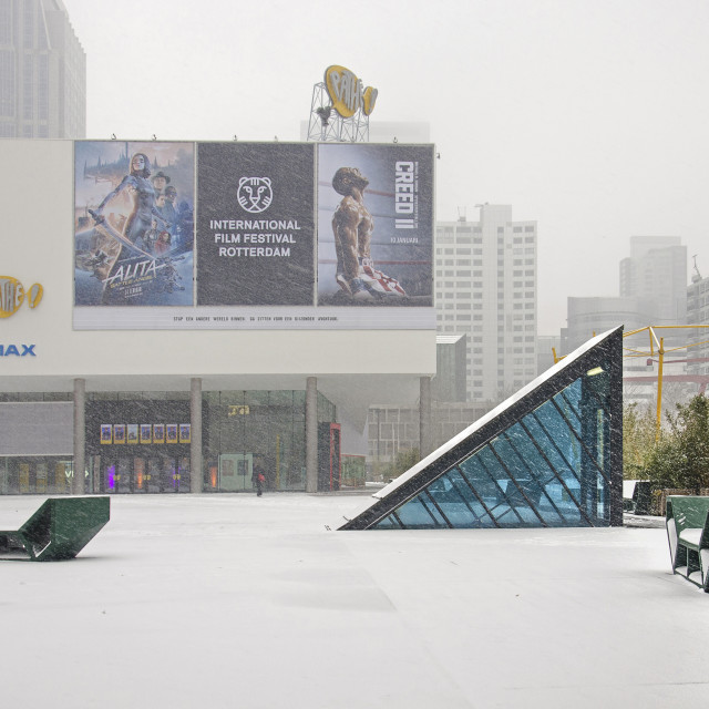"""""""Cinema in a snowstorm"""" stock image"""