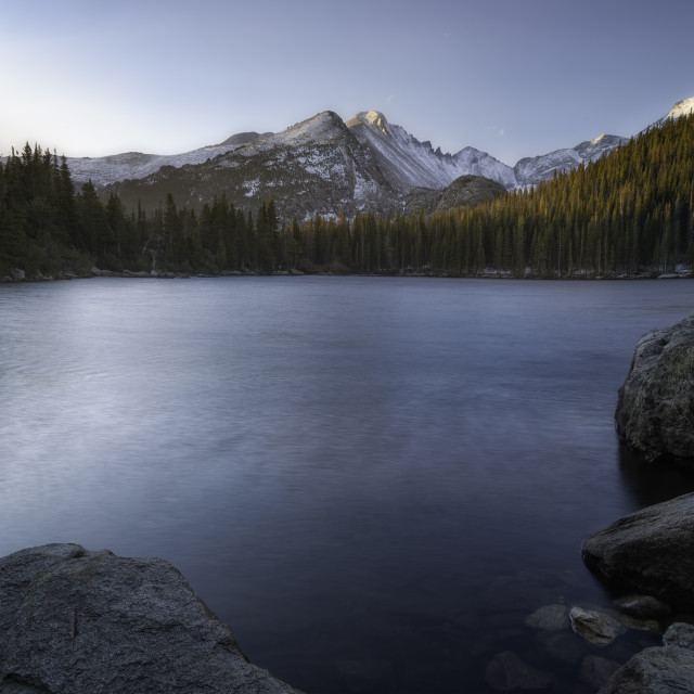 """The Morning sunrise Bear Lake in Rocky Mountain National Park"" stock image"