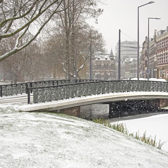"""Bridge across a canal in winter"" stock image"