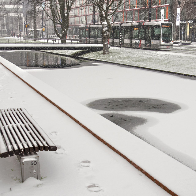 """""""Rotterdam canal in winter"""" stock image"""