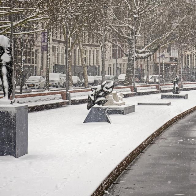 """""""Westersingel quay in winter"""" stock image"""