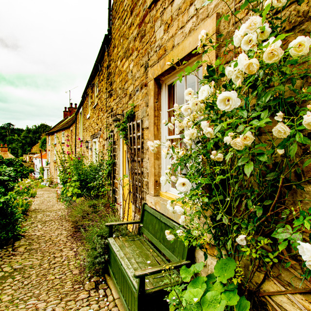 """""""Richmond, Yorkshire, England. Stone built terraced cottages."""" stock image"""