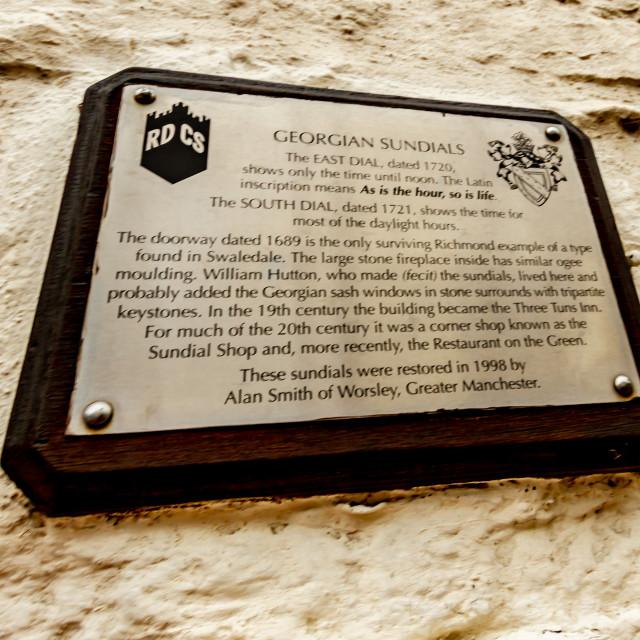 """Richmond, Yorkshire, Bridge Street, East Sundial Plaque."" stock image"