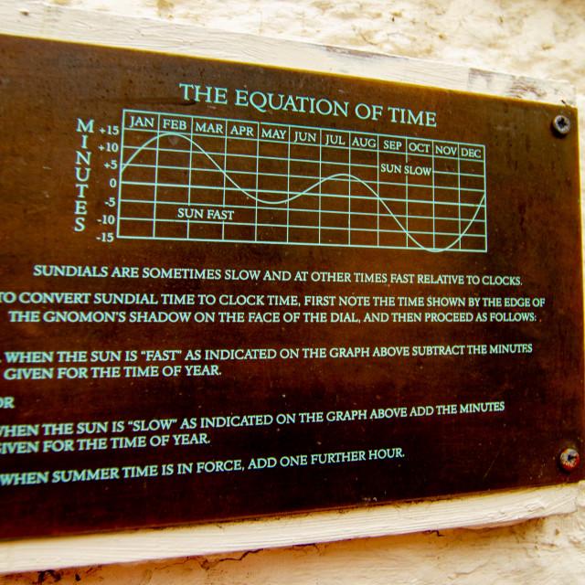 """Richmond, Yorkshire, Bridge Street,Sundial Explanation Plaque."" stock image"