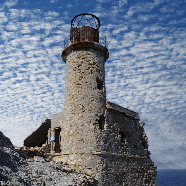 """""""Aforesmenos lighthouse in Crete"""" stock image"""