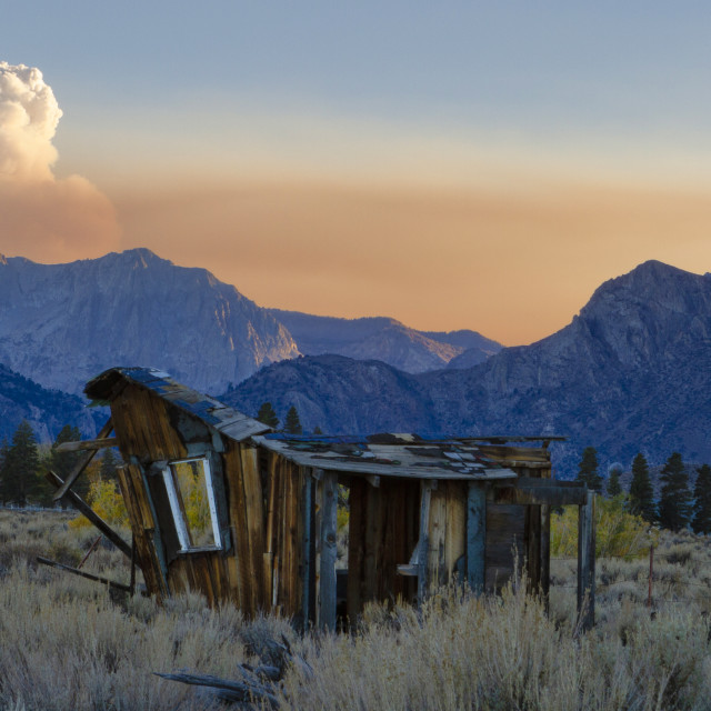 """""""Old cabin at sunset in the Eastern Sierras"""" stock image"""