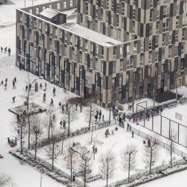 """""""Schoolyard in wintertime"""" stock image"""