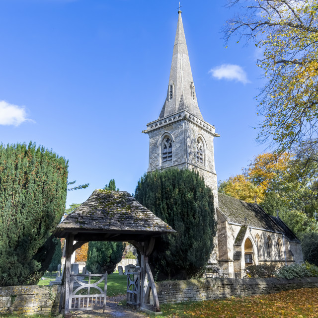 """""""St Mary's church Lower Slaughter"""" stock image"""