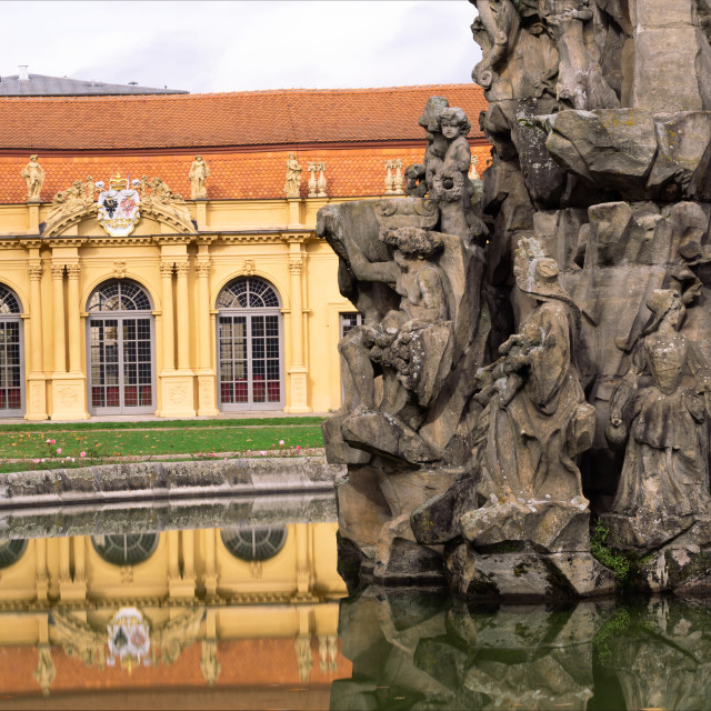 """""""palace reflection and statue"""" stock image"""