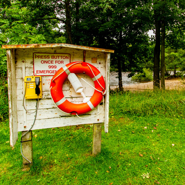 """""""Richmond, Yorkshire, England. River Swale Lifebuoy Rescue Point"""" stock image"""