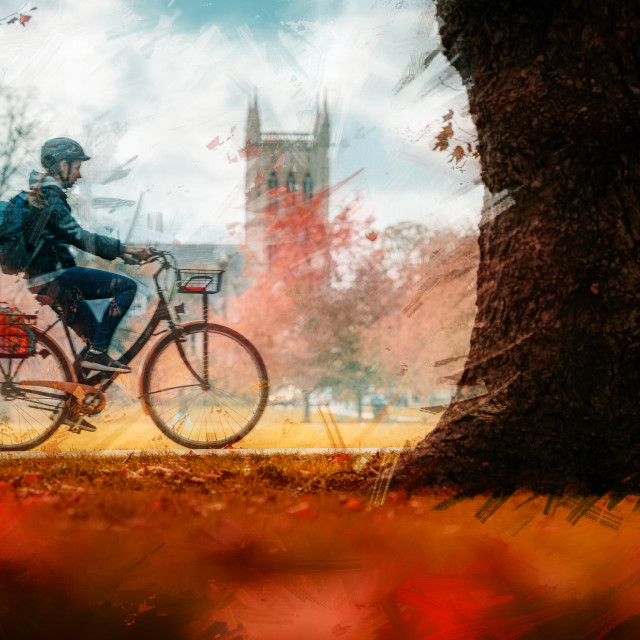 """Autumn Colours in Watercolour from Jesus Green, Cambridge UK."" stock image"