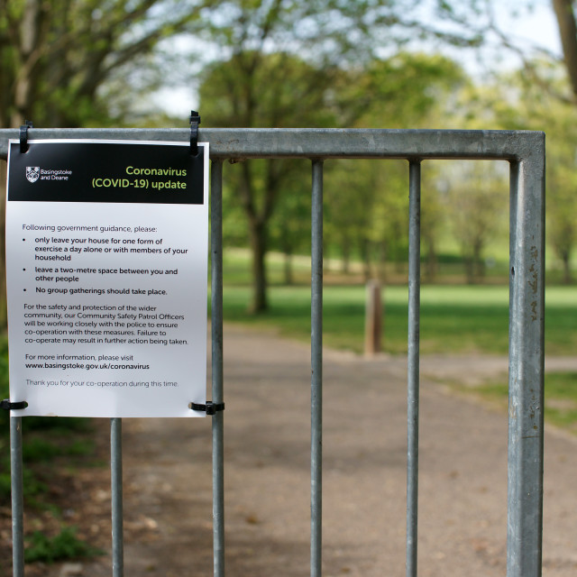 """COVID-19 UK Lockdown Rules Poster First Wave Public Park"" stock image"