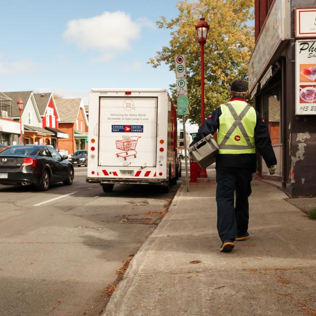 """Canada Post delivery in Ottawa, Canada"" stock image"
