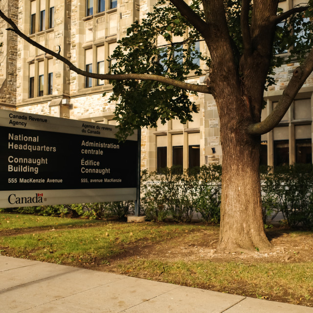 """""""OTTAWA, ONTARIO, CANADA - OCTOBER 8, 2020: The National Headquarters of the Canada Revenue Agency (CRA) in the Connaught Building in downtown Ottawa."""" stock image"""