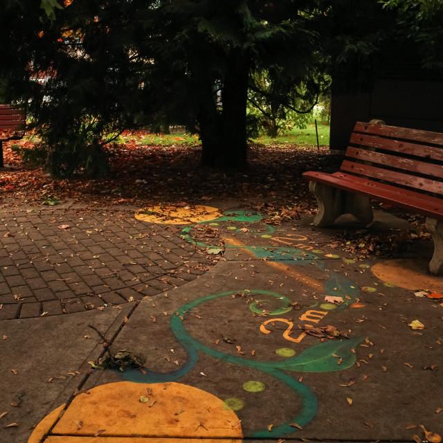 """2m physical distancing art on hospital sidewalk"" stock image"